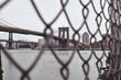 brooklyn bridge behind fence