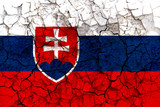 slovakia country flag painted on a cracked grungy wall