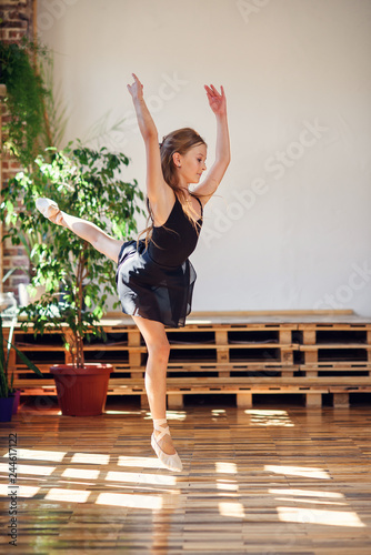 Young ballerina in black tutu practicing dance moves. © gorynvd
