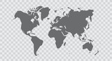 Simplified world map. Stylized vector illustration - 244617714
