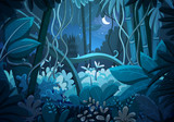 Vector illustration of tropical jungle background. Landscape at night with moon and stars in dark blue sky. Rainforest with dense vegetation of trees, bushes and lianes. - 244622939