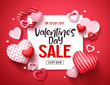 Valentines sale vector banner template. Valentines day store discount promotion with white space for text and hearts elements in red background. Vector illustration. - 244639357