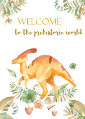 Watercolor card with cute dinosaurs. Illustration with prehistoric characters, plants, palm trees for baby design, cards, invitations, baby shower.