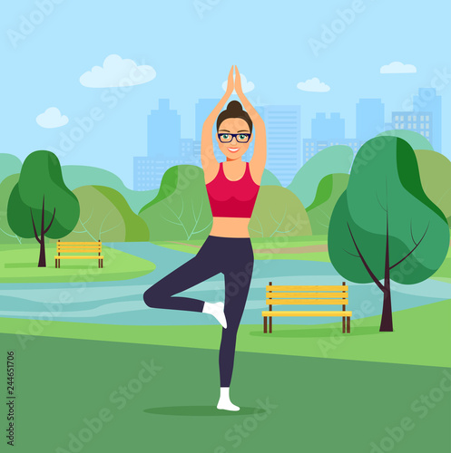 Wall mural Young woman in yoga tree pose in the park. Vector flat illustration
