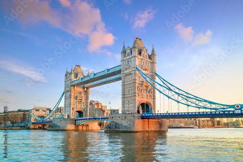 Leinwandbild Motiv London skyline with Tower Bridge at twilight