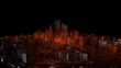 3d city with bright red flashes on a dark background - 244657934