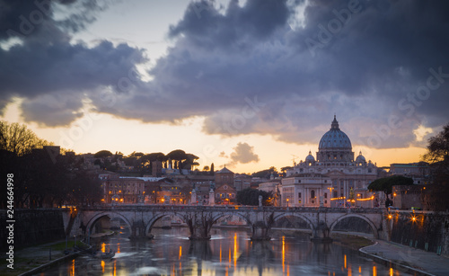 Sticker Sunset in Rome with the Vatican and the Tiber river. Rome, Lazio, Italy
