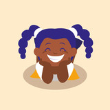 cute little girl black happy avatar character
