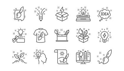 Creativity line icons. Creative designer, Idea and Inspiration. Brush and pencil linear icon set.  Vector © blankstock