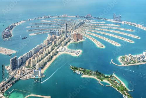 Leinwanddruck Bild Aerial view of Dubai Palm Jumeirah island, United Arab Emirates