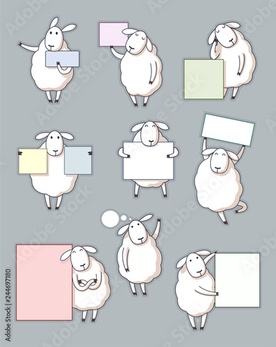 Cute sheep note set