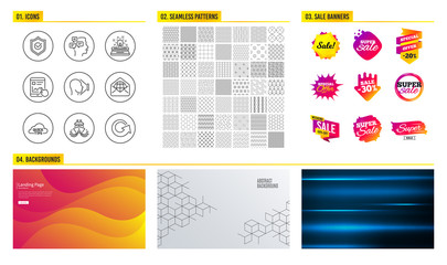 Seamless pattern. Shopping mall banners. Set of Ship, Internet report and Typewriter icons. Face id, Web mail and Approved shield signs. Quick tips, Messages and Reload symbols. Vector © blankstock