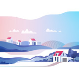 Abstract countryside landscape. Rural area with hills, fields and houses. Vector illustration.