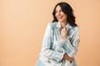 Leinwandbild Motiv Beautiful brunette woman dressed in plaid jacket