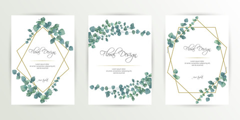 Banner on flower background. Wedding Invitation, modern card Design. Save the Date Card Templates Set with Greenery, Decorative Floral and Herbs Element. Vintage Botanical. eps 10