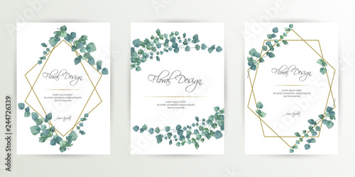 Banner on flower background. Wedding Invitation, modern card Design. Save the Date Card Templates Set with Greenery, Decorative Floral and Herbs Element. Vintage Botanical. eps 10 - 244726339