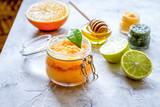 organic citrus scrub homemade on gray background - 244730552