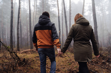 The young man and woman walking in the forest photographed from the behind.