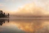 Fog rising from lake at summer morning sunrise landscape - 244731321