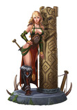Girl viking yarl near a wooden obelisk on the stone floor