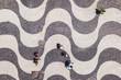 Quadro Rio de Janeiro, Brazil, Top View of People Walking on the Iconic Copacabana Beach Sidewalk