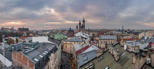 Panorama view of Krakow city at sunset