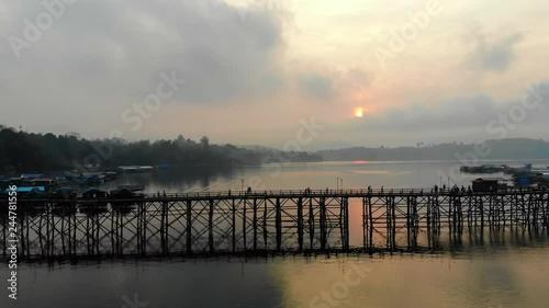 Wall mural Aerial view of Mon wooden bridge in Sangkhlaburi Kanchanaburi Thailand