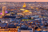 Fototapeta Paryż - Paris. Aerial view of the city at sunset. © pillerss