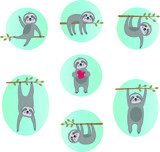 cute sloth vector illustrations