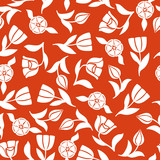 Fototapeta Tulipany - Tulips pattern seamless ornament on red background © agrino
