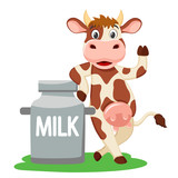 Cow leaned on a can of milk and waving his hoof on a white.