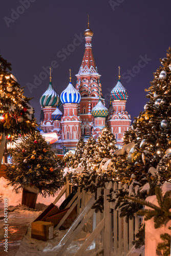 saint basil's cathedral in winter time in moscow russia. One of the most beautiful places in the world.