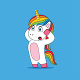Unicorn's expression that was shocked cartoon