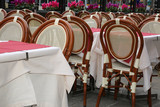 tables and chairs at alfresco restaurant - 244819522