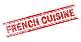 FRENCH CUISINE seal watermark with corroded style. Red vector rubber print of FRENCH CUISINE text with corroded texture. Text tag is placed between double parallel lines. - 244849932