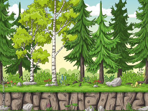 obraz lub plakat Seamless cartoon forest background. Hand draw with separate layers.