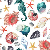 Watercolor sea life vector pattern - 244882713