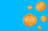 Lot of fresh whole delicious orange mandarins falling in down on blue background with copy space for your text. Concept of food or celebration