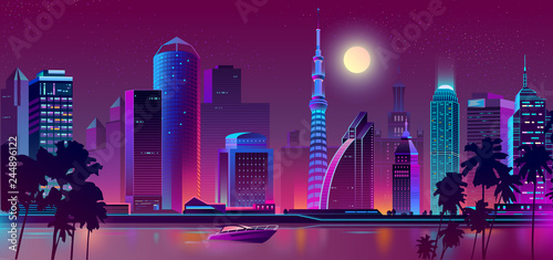 Vector background with night city in neon, ultraviolet colors. Bright river with boat, ship on bay and full moon background. Skyscrapers with palms, urban concept. Modern megapolis backdrop. - 244896122