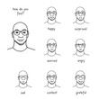 Hand drawn illustration of a man's face revealing various emotions and feelings, such as happiness, surprise, sadness, worry, anger, gratitude