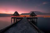 Fototapeta Zachód słońca - Background view Close-up of panoramic views (sea, bridge, twilight sky) is a natural beauty, the wallpaper of the morning sun.  © bangprik