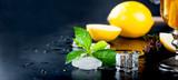 lemon slices and mint for tea
