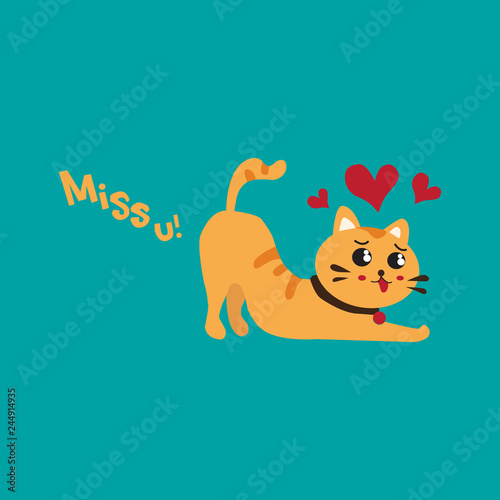 Cute cats in love. Valentines day Vector