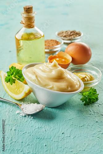 Leinwandbild Motiv Ingredients for making gourmet homemade mayonnaise