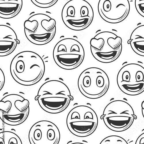 Positive smiling faces background, emoticons sketch line seamless pattern vector illustration