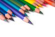 closeup of colouring pencils set on white background