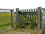 wooden fence on the dike
