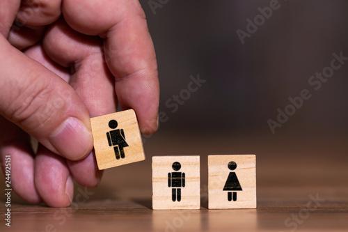 Leinwandbild Motiv Konzeptbild drei Geschlechter, Mann Frau und divers, unbestimmtes Geschlecht