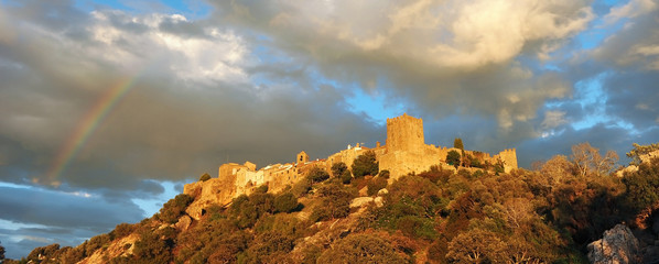 Medieval castle of Castellar de la Frontera (Old Castellar), a picturesque village in Alcornocales Natural Park, province of Cadiz, Spain