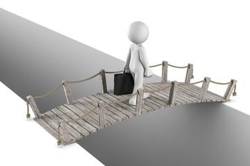 3D Illustration weißes Männchen überquert eine Brücke